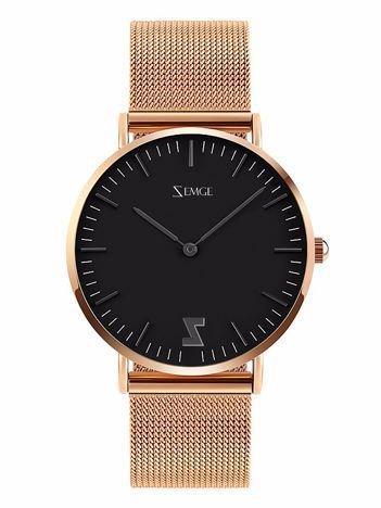 ZEMGE Zegarek unisex czarno-złoty na bransolecie typu MESH Eleganckie pudełko prezentowe w komplecie