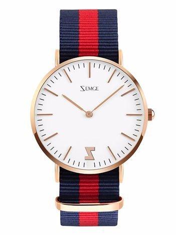 ZEMGE Zegarek unisex złoty na nylonowym pasku Eleganckie pudełko prezentowe w komplecie