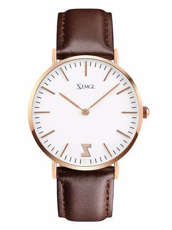 ZEMGE Zegarek unisex złoty na skórzanym brązowym pasku Eleganckie pudełko prezentowe w komplecie