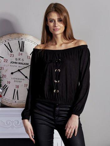 Zamszowa bluzka hiszpanka lace up czarna