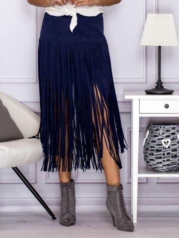 Zamszowa midi spódnica boho z frędzlami ciemnoniebieska