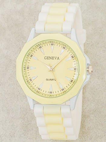 Zegarek damski na wygodnym silikonowym pasku biało-ecru