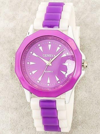 Zegarek damski na wygodnym silikonowym pasku biało-fioletowy