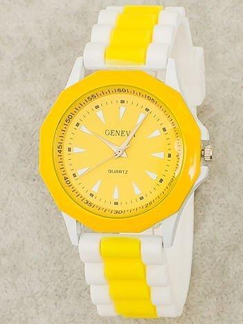 Zegarek damski na wygodnym silikonowym pasku biało-żółty