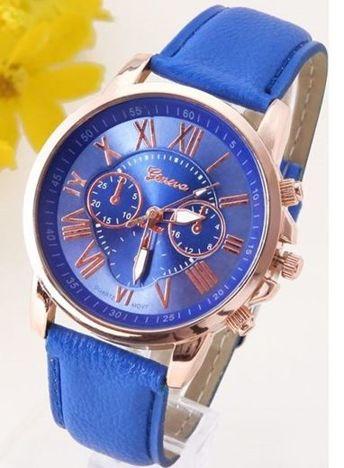 Zegarek damski niebieski z ozdobnym chronografem