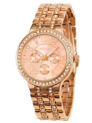 Zegarek damski w kolorze różowego złota na bransolecie, z ozdobnym chronografem i cyrkoniami