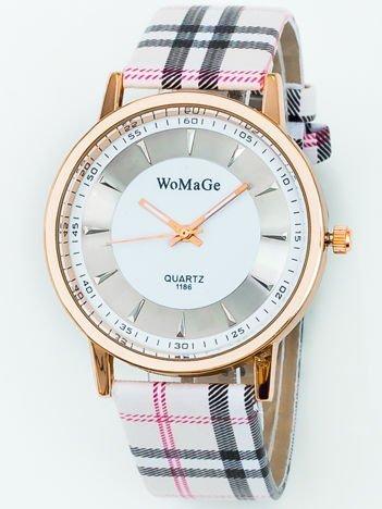 Zegarek damski w kratę ecru