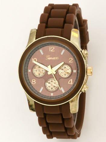 Zegarek damski z ozdobnym chronografem na wygodnym silikonowym pasku brązowy