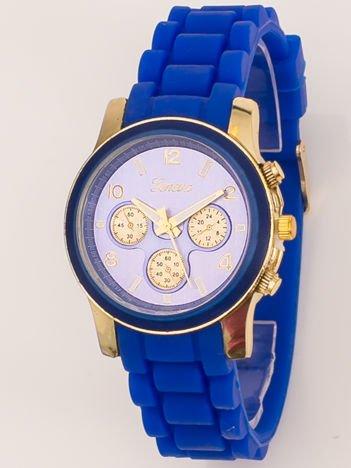 Zegarek damski z ozdobnym chronografem na wygodnym silikonowym pasku granatowy