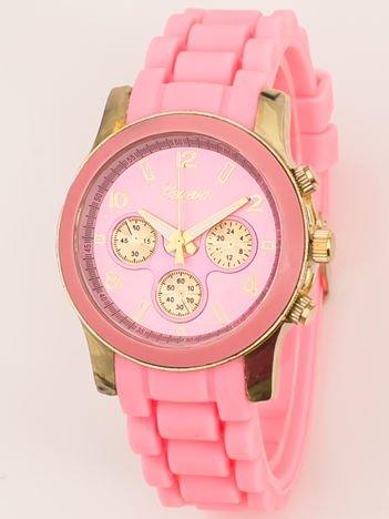 Zegarek damski z ozdobnym chronografem na wygodnym silikonowym pasku jasnoróżowy