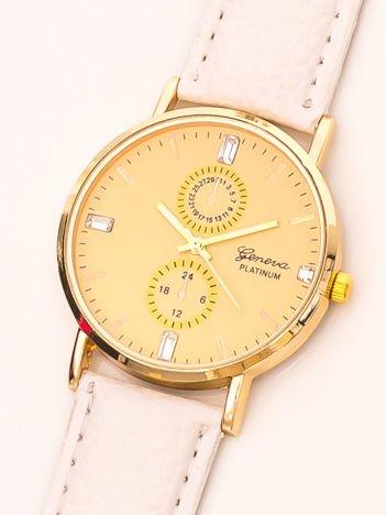 Zegarek damski z ozdobnym kalendarzem biały