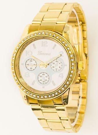 Zegarek damski złoty na bransolecie, z ozdobnym chronografem i cyrkoniami