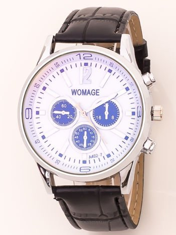 Zegarek męski na skórzanym pasku z ozdobnym chronografem i metalizującym szkiełkiem