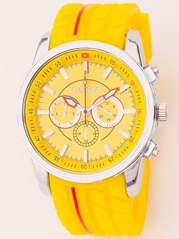 Zegarek męski żółty z ozdobnym chronografem i wzorem bieżnika na pasku