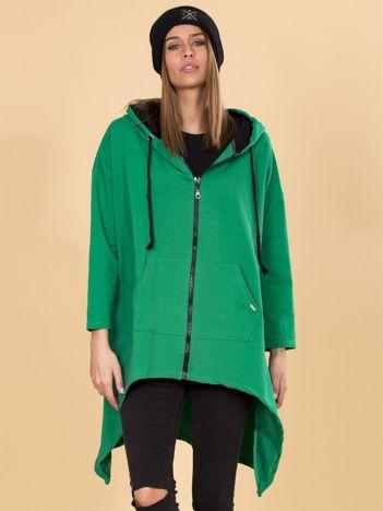 Zielona asymetryczna bluza dresowa z kapturem