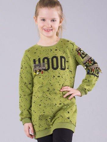 Zielona bluza dziewczęca z nadrukiem i koralikami