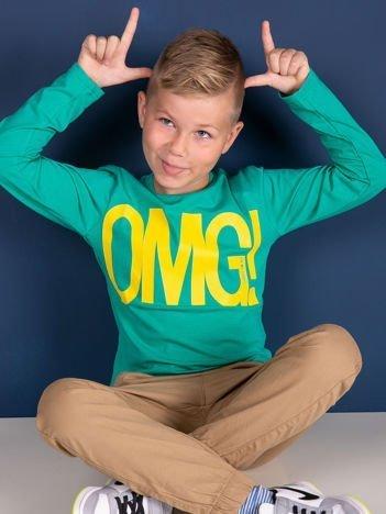 Zielona bluzka dla dziewczynki z napisem OMG