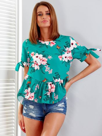 Zielona bluzka floral print z falbaną