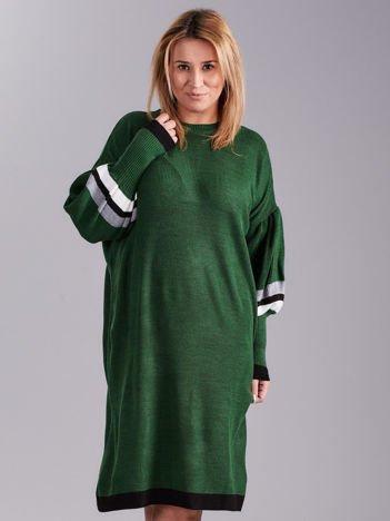 Zielona dzianinowa sukienka PLUS SIZE