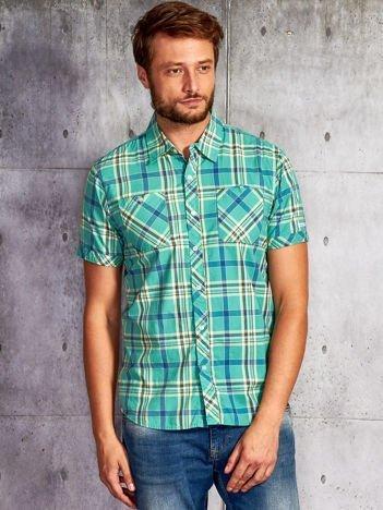 Zielona koszula męska w kratkę FUNK N SOUL