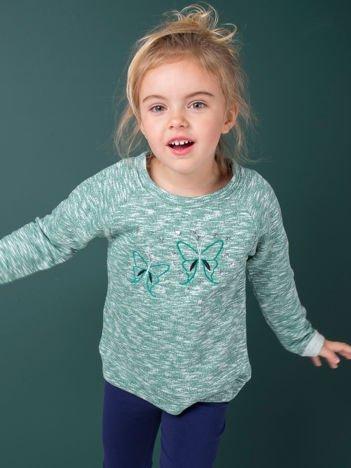 Zielona melanżowa bluza dziewczęca z motylkami i cekinami