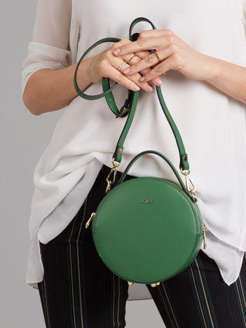 Zielona okrągła torebka skórzana