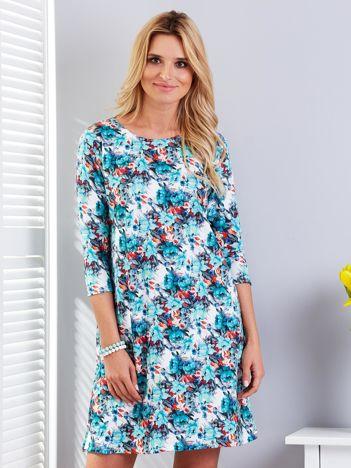 Zielona sukienka floral print o prostym kroju