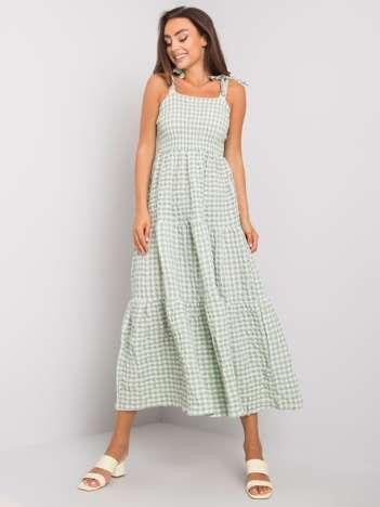 Zielona sukienka w kratkę Michela RUE PARIS