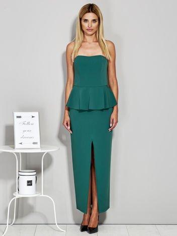 Zielona sukienka wieczorowa z baskinką
