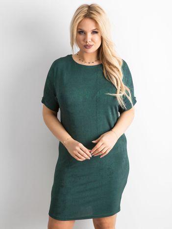 Zielona sukienka z delikatnym połyskiem PLUS SIZE