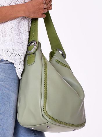 Zielona torba miejska z plecionką
