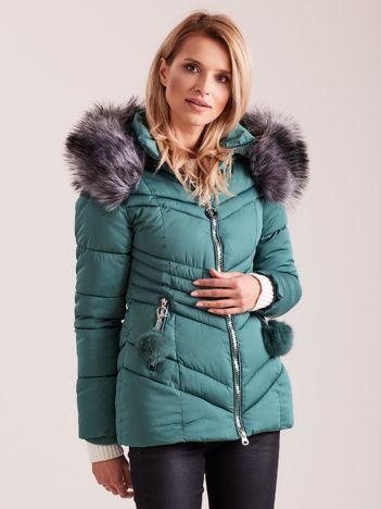Zielona zimowa kurtka pikowana