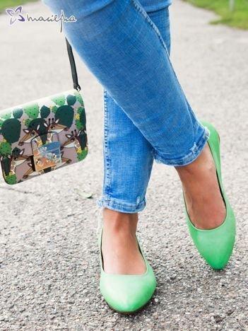 Zielone skórzane baleriny Maciejka z przodem w szpic