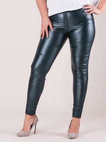Zielone woskowane spodnie damskie PLUS SIZE