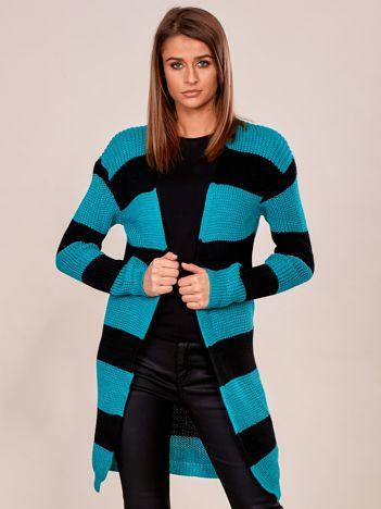 Zielono-czarny sweter bez zapięcia