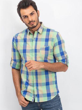 Zielono-niebieska koszula męska Countryside