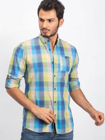 Zielono-niebieska koszula męska Registered