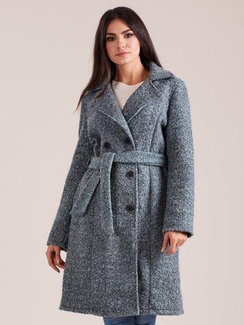 Zielony dwurzędowy płaszcz boucle
