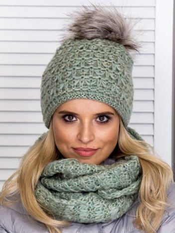Zielony komplet damski czapka z pomponem i komin
