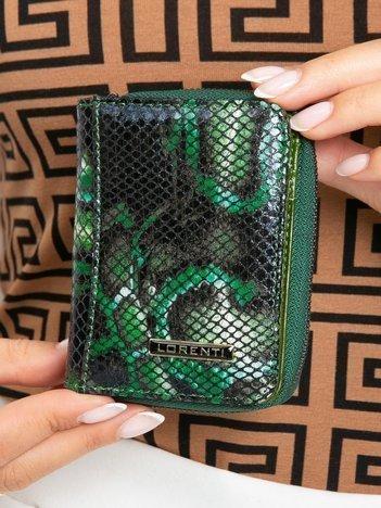 Zielony mały skórzany portfel damski