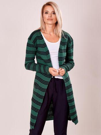 Zielony otwarty sweter w prążek