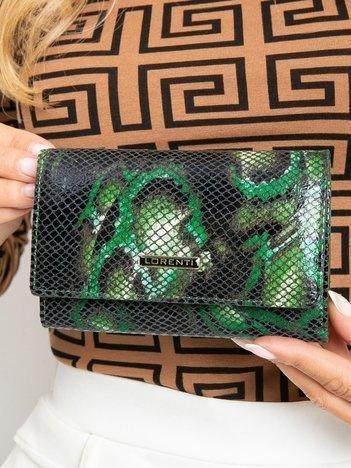 Zielony poziomy portfel damski we wzory