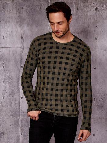 Zielony sweter męski w pleciony wzór