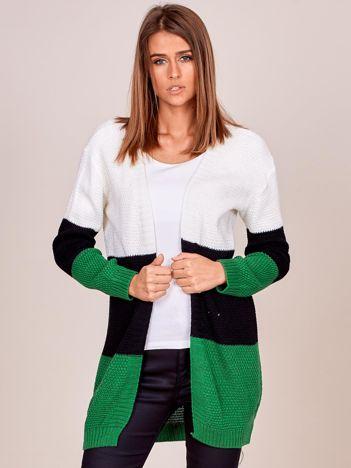 Zielony sweter tricolor bez zapięcia