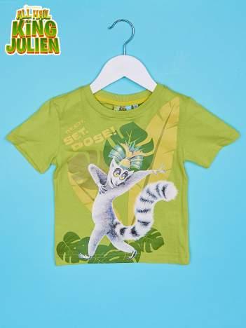Zielony t-shirt chłopięcy KRÓL JULIAN