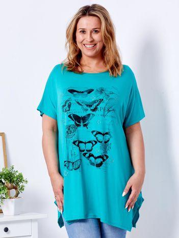 Zielony t-shirt damski w motyle PLUS SIZE