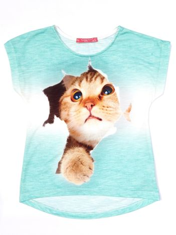 Zielony t-shirt dla dziewczynki z kotem
