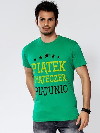 Zielony t-shirt męski PIĄTEK PIĄTECZEK