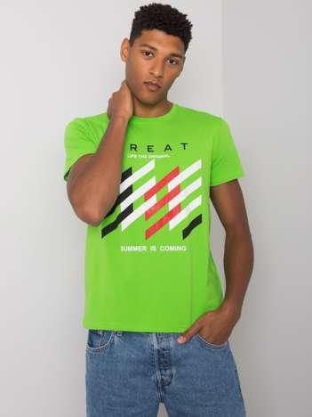Zielony t-shirt męski z kolorowym nadrukiem Adriel