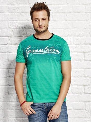 Zielony t-shirt męski z motywem tekstowym